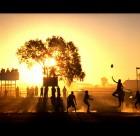Yuendumu Magpies practice match at sunset