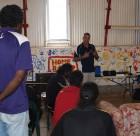 Workshop participants hear Road Safety messages from NT Government's Neil Sarmardin