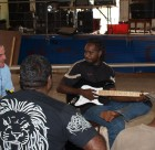 NT Government Minister Gerry McCarthy shares road safety songwriting ideas with Desert Eagles at Ali Curung